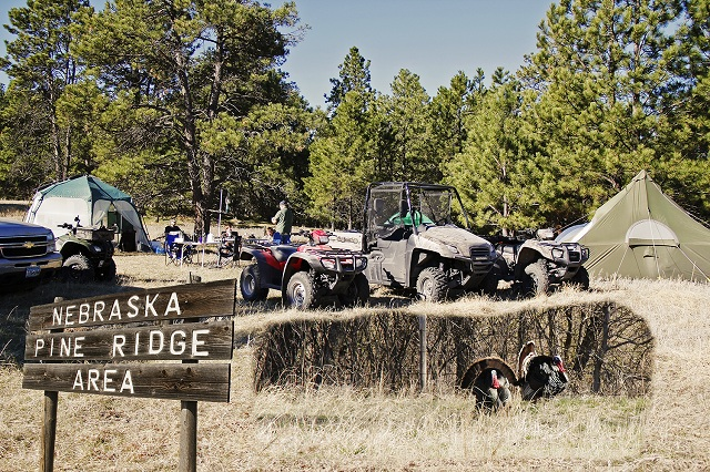 We camped, hunted turkeys, and tested Honda ATVs and a Big Red in rugged Nebraska terrain. The trip began in the Pine Ridge in extreme northwestern Nebraska, and ended along the Niobrara River near Valentine. Despite our best efforts, the turkeys won this round. (Photo illustration: Mark Strand)