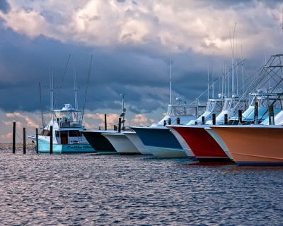 Fishing Charter Boats at Oregon Inlet: home of the largest and most modern fishing fleet on the eastern seaboard,