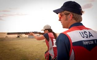 Skeet shooter Frank Thompson watches teammate trap shooter and 2008 Olympic bronze medalist Corey Cogdell.