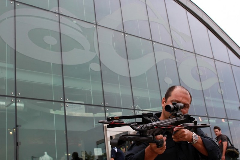 David Barnett, director of Barnett Crossbows, poses with the new Vengeance reverse draw crossbow outside of OCC headquarters.