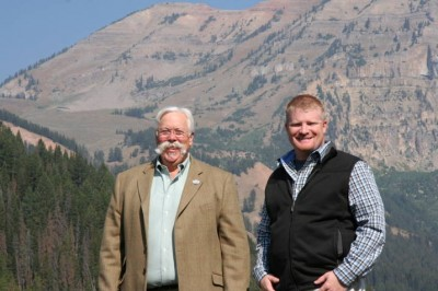 Bob Benson (right) and Joe Hosmer, SCIF President (left) stand at Jackson Hole, Wyoming at the SCIF American Wilderness Leadership School property.