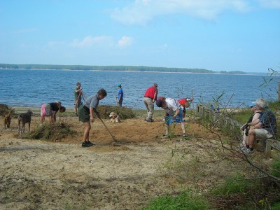 The J. Strom Thurmond Dam and Lake Project hosted a clean-up campaign in the weeks leading up to National Public Lands Day, Sept. 24, 2011. The campaign concluded on NPLD with activities like beach vegetation clearing, bird house construction, trail enhancement and trash pick up. Volunteers celebrated afterward with a picnic at the Elijah Beach Shelter at Clarks Hill park.