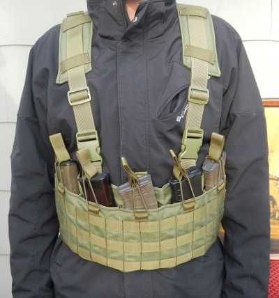 A BCS AK74 rig with padded harness and five mags strapped in.