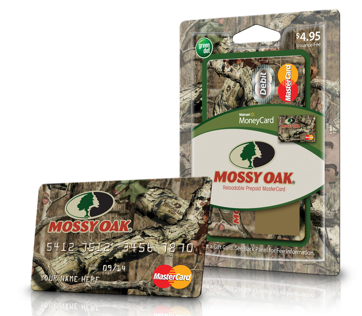 Debuting during hunting season, the Mossy Oak Card, features the Break-Up Infinity ® camouflage design. The Cards can be found on sale at participating stores in the Walmart MoneyCenter, in the check-out lanes, as well as in the hunting section of Walmart participating stores.