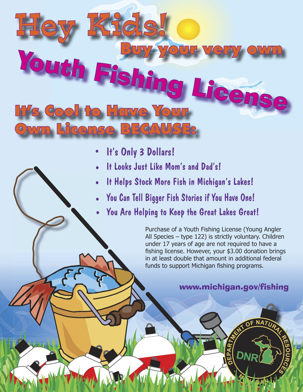 Voluntary youth fish licenses bring in federal funds for for Michigan out of state fishing license