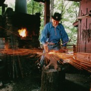 Bladesmith Ray Johnson plies his craft at Silver Dollar City in Branson, Missouri.
