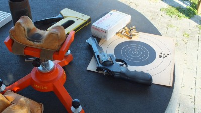 Benchrest testing for accuracy allows competitive shooters to choose the load that works best in their gun. This 130-grain Winchester FMJ load did a great job at 25 yards.