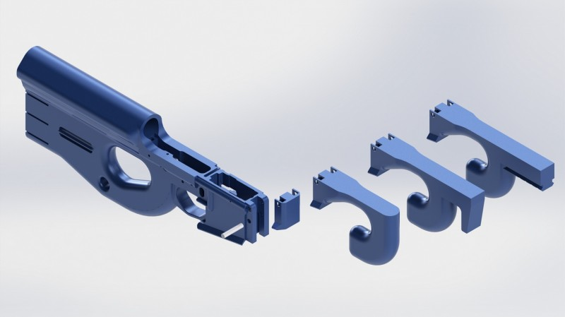 The Charon can use a variety of 3D-printed fore end pieces.