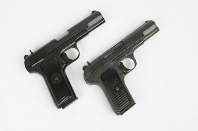 The M70A (left) is nearly identical to the Chinese Model 213 (right) with the exception of the longer grip found on the Serbian Tokarev.