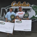 First-place pro finisher John Gillman (right) and first-place co finisher Joe Jordan (left) pose with their checks and trophies at the NWT event at Port Clinton, Ohio, on June 16.
