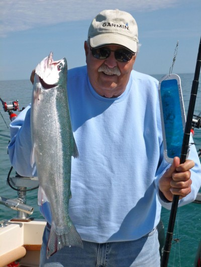 Catching smaller fish like this steelhead with Bud Roche's system of flies, bait, and flashers is not common.