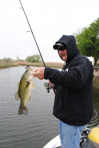 Bill Horton admires a Saginaw Bay largemouth bass.