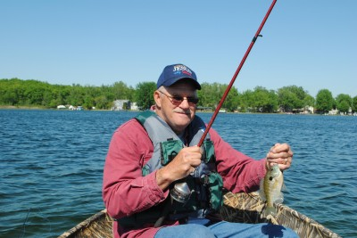 Bluegill Bob Miskowski with a Vineyard Lake bluegill.