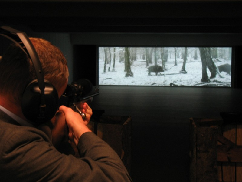 The live-fire, cinema projection range at the Sportsman Shooting Center.