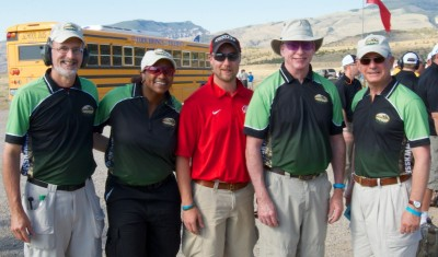 The NSSF Team, left to right: Bill Brassard, Tisma Juett, USA Shooting 3-time Olympian Matt Emmons (just photo-bombing here), Randy Clark and Steve Sanetti
