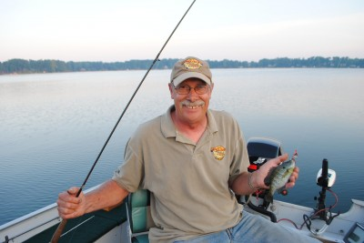 Denny Hettigs shows off a bluegill caught trolling.
