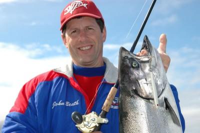 John Beath with a salmon.
