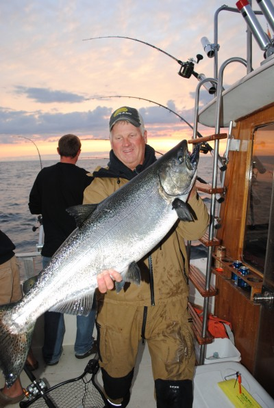 King salmon like this one will test your tackle.  When the bite is good, your arms will be worn out after a few encounters with these guys.