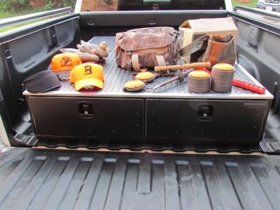 The MobileStrong drawers have a relatively low profile in a pickup truck's bed, allowing for greater rear-facing visibility than with a camper shell.