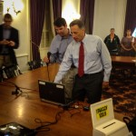 Governor Peter Shumlin and Fish &Wildlife Commissioner Patrick Berry conducted  Vermont's 2013 moose hunting permit lottery August 1, at the Vermont State House in Montpelier.