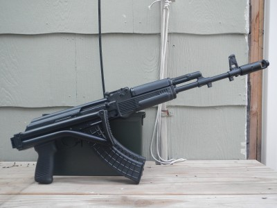 The SAM7SF with its stock folded. There is enough clearance between the folded stock and the receiver to allow the rifle's action to properly function.