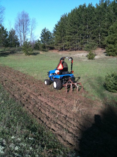 A small tractor can be a very helpful tool for getting your honey hole set up.