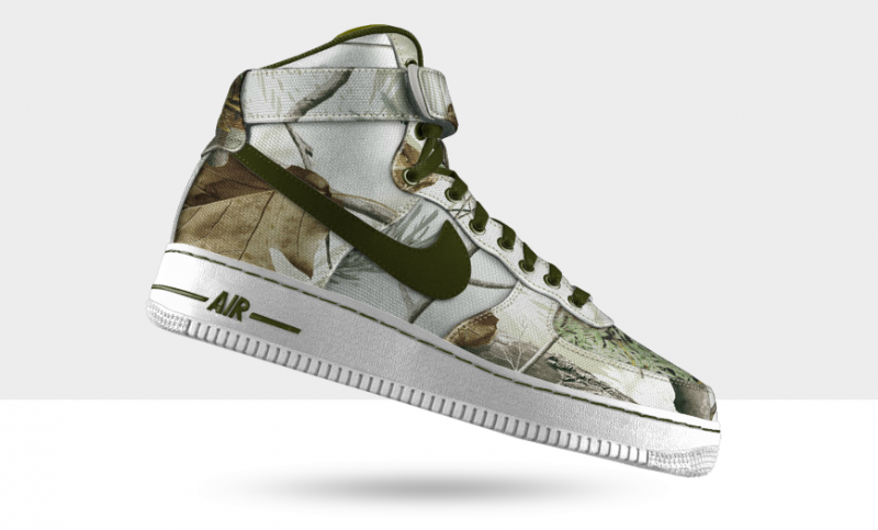 A customized Air Force 1 in Realtree AP Snow Camo.