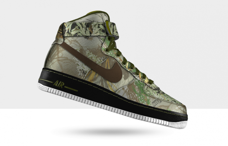 A customized Air Force 1 in Realtree Max 1 camo.