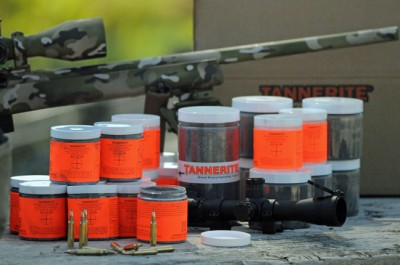 Tannerite was designed to be a clearly visible and audible long-distance rifle shot hit indicator.