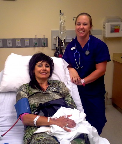 The author in the with Nurse Erin in the Union County Hospital.
