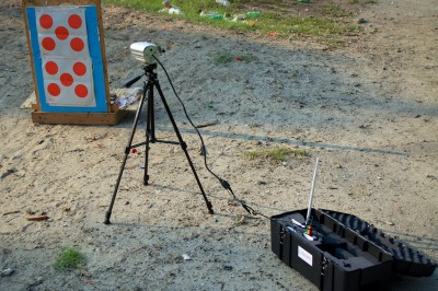 Here's the Bullseye Camera System in action downrange. Open the case, set up the camera, and you're ready to go.