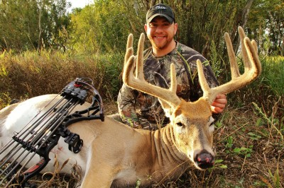 Adam Jablonski of Linesville, Pennsylvania travelled to central North Dakota and put an arrow through this great velvet 10-pointer on September 5, 2012. If you want to put your tag on a velvet-clad antler, Western states are the one of the best places to do it.