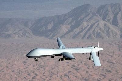 An armed MQ-1 Predator drone flying reconnaissance, not over the Colorado town of Deer Trail.