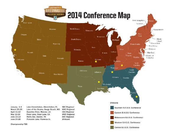 2014 B.A.S.S. Collegiate Map