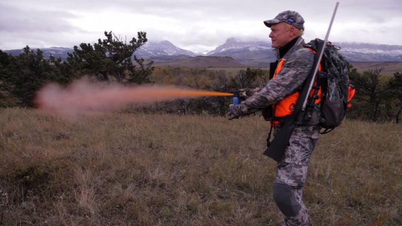 Chris Boddington demonstrating the use of bear spray.