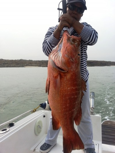 Campos catches African red snapper.