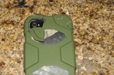 The case's camera lens cover easily pivots out of the way, a notable improvement from the previous model of Griffin case I used.