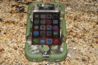 My iPhone securely contained in the Survivor case.