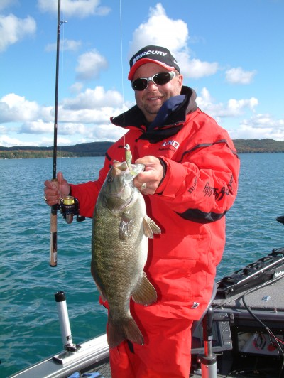 Mark Martin hooks a fall smallie at Glen Lake in 2006.
