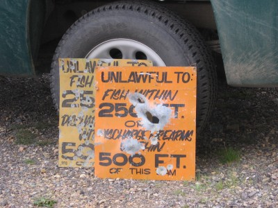 Shot-up signs, particularly those around common outdoor recreation areas, can be significantly damaging to the image of outdoorsmen and women.