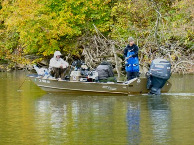 While the author's friend Kevin Essenburg does well trolling for steelhead, other anglers on the Kalamazoo River do well by anchoring and float-fishing with spawn bags.