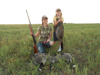 Trisha Bowen and her 9-year-old daughter Alex enjoy a successful goose hunt.