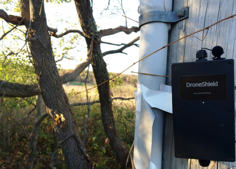 A DroneShield device keeping watch near the boundaries of a Pennsylvania hunting club.