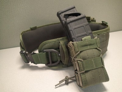 HSGI's Sure-Grip Padded Belt makes a great bug-out belt. Attached in this picture is an HSGI TACO X2R pouch holding one 30-round PMAG and a 40-round PMAG.