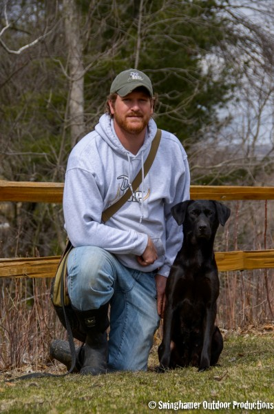 Jeremy Moore of Dog Bone Hunter, pictured with his six-year-old female English Labrador, Finn. His mantra: keep it positive and always be training.