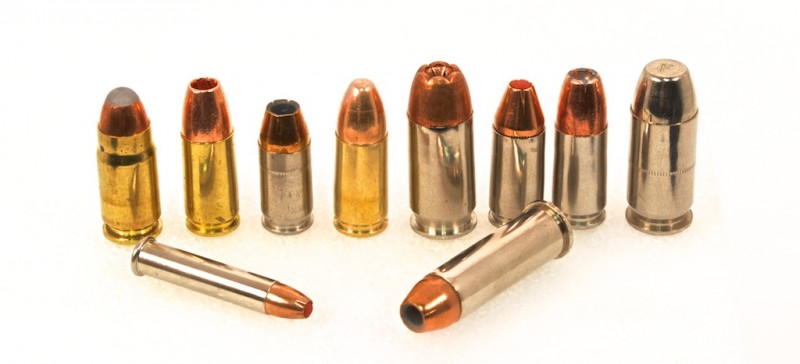 Good self defense ammunition comes in all shapes and sizes. The 4th round standing from the left is a 9mm full metal jacket practice round. The one on the far right is a Federal Guard Dog expanding full metal jacket round.