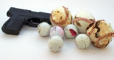 Old golf and baseballs make excellent Range Junk Jamboree targets. Sorry, outdoor ranges only!