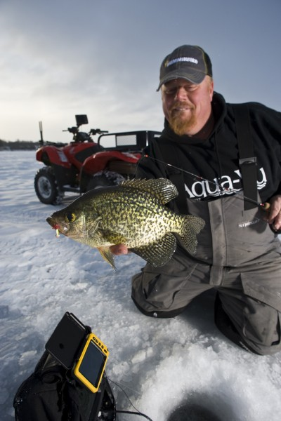 "A perfect match: Humminbird sonar allowed Brian ""Bro"" Brosdahl to get his jigging spoon into the strike zone of this suspended crappie, while the Aqua-Vu underwater viewing system was just the ticket to seeing them strike in real time."