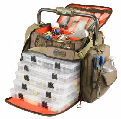 Go Wild River's tackle bags feature built-in lights and/or stereo speakers in addition to ample lure trays and gear compartments.