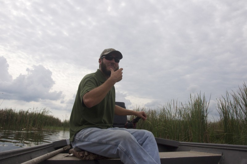Grosse Savanne's manager, Bobby Jorden, explains the various flora and fauna throughout the 500-acre man-made marsh.